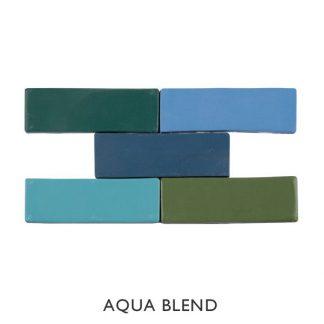 Kaleidoscope Aqua Blend 150 x 50mm Brick Ceramic Tiles