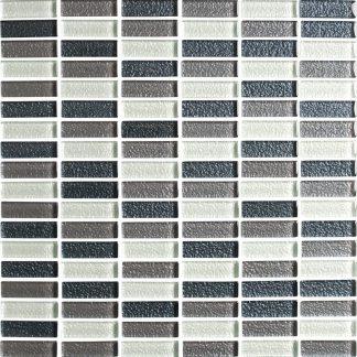 Lava Black / Charcoal / Heather / White Mosaic Glass Mosaic Tiles