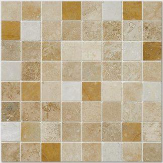 Giallo Travertine Mix Tumbled Mosaic Tiles