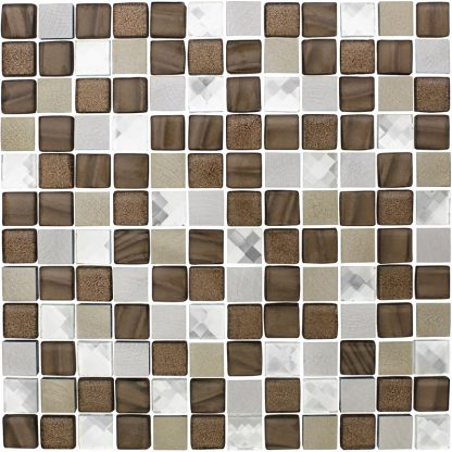 Lisbon Square Glass & Metal Mosaic Tiles