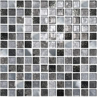 Pamploma Square Glass & Metal Mosaic Tiles