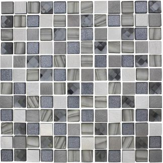 Porto Square Glass & Metal Mosaic Tiles
