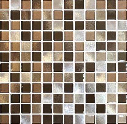 Santiago Square Glass & Metal Mosaic Tiles