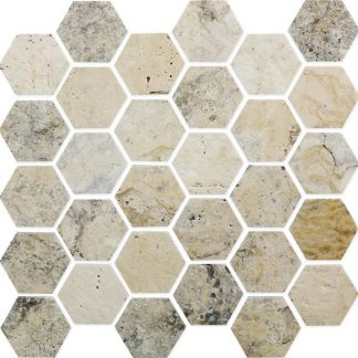 Silver Travertine Hexagon Mosaic Tiles
