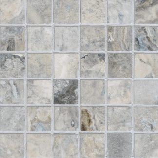 Silver Travertine Tumbled Mosaic Tiles