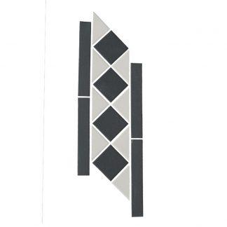 Black and WhiteVictorian Border Vitrified Porcelain Mosaic Tiles