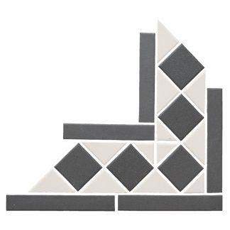 Black and White Victorian Corner Vitrified Porcelain Mosaic Tiles