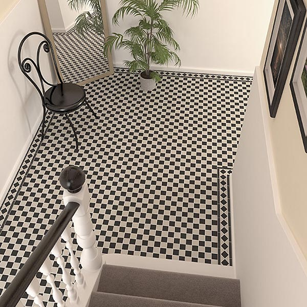 black and white victorian vitrified porcelain mosaic tiles