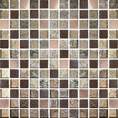Zaragoza Square Glass & Metal Mosaic Tiles