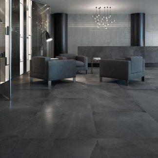 Black Allover Concrete Effect Tile, Minoli 600 x 600 and 600 x 300