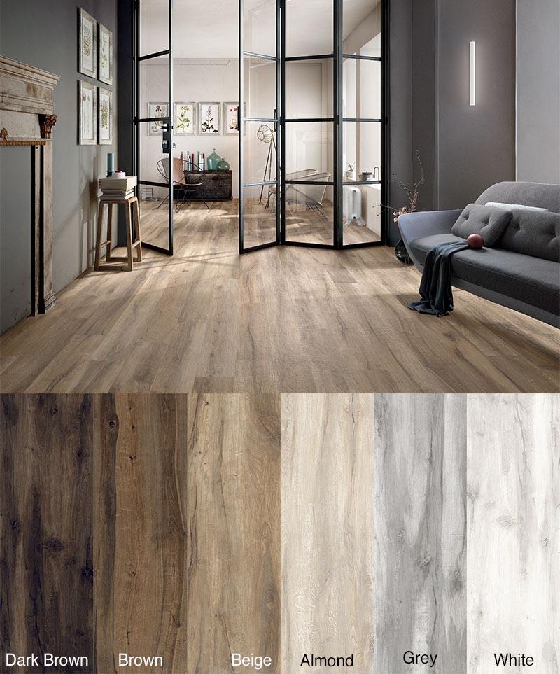 Cluney White Wood Effect Porcelain Tiles 1200 x 200