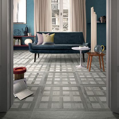 Cluney Grey Almond Wood Parquet Effect Porcelain Tiles 600 x 600